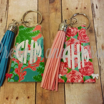 Lilly Pulitzer Monogram Keychain With Tassel-Shift Dress-3 inches Tall