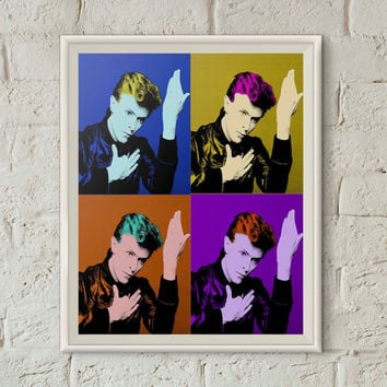 David Bowie, Andy Warhol Print, Heroes, David Bowie Art, Printable Wall Art, Glam Rock, Ziggy Stardust, Pop Art Print, Instant Download