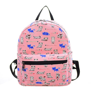 JINBAOLAI New Fashion Women Canvas Mini Floral Printed Backpacks For Teenage Girls Shoulder Rucksack Schoolbag mochila feminina
