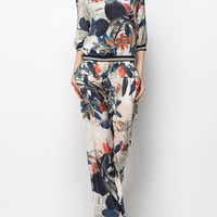 [USD $196.00] Floral Printed Silk Two Piece Jumpsuits