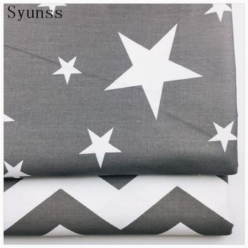 Syunss Gray Stars Waves Printed Cotton Fabric for decoration Diy Sewing Patchwork Cushions Bedding Textile And Quilting Crafts
