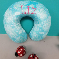 Personalized or monogram travel neck pillow, memory foam, so soft!  New color - teal with design.  Another new color - AquaMarine!