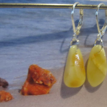 100% Natural Baltic Genuine Real Amber Earrings 1.3 gr. opaque yellow egg yolk butterscotch polished  Silver 925 french clasp raw stones