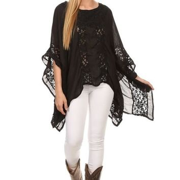 Black Lacy Tunic Top