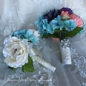 Tiffany Blue and Pearl Large Flowers Bridesmaid or Bridal Bouquet