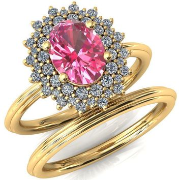 Eridanus Oval Pink Sapphire Cluster Diamond Halo Wedding Ring