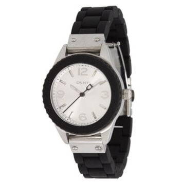 DKNY Women's Black Stainless Steel Silver Dial Watch  | Overstock.com