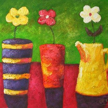 Flowers in Colorful Pots Art Oil Painting