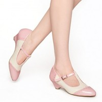 Ione T-Strap Low Heel in Fairy Pink