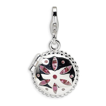 925 Silver Pink Cosmetic Case Charm Created with Swarovski Crystals