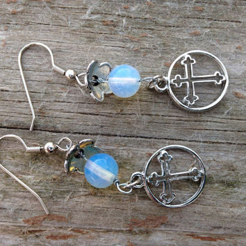 Cross wire wrapped moonstone gemstone earrings -Gemstone jewelry -Moonstone jewelry -gifts for her - womens gifts - valentines gifts -Easter