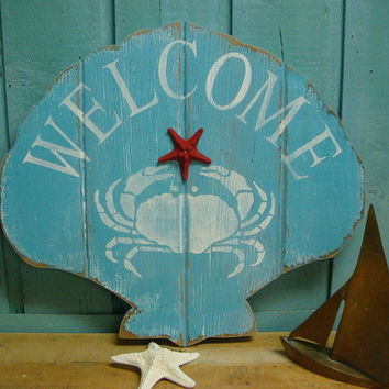 Welcome Sign Shell Clam Wall Art Beach House Decor by CastawaysHall