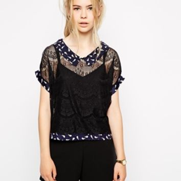 Miss Patina Lace Blouse With Bird Print Collar - Black