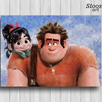 Ralph and Vanellope poster disney print childrens room decor