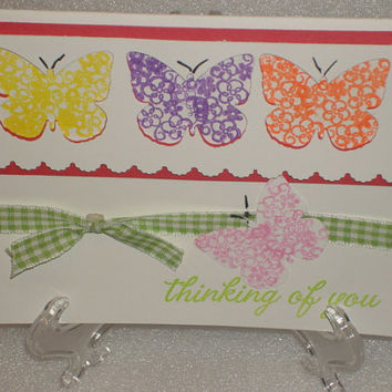 Butterfly Thinking of You Blank Card for Birthdays, Anniversary, Wedding, Valentines Day, Mothers Day, Retirement, Sympathy