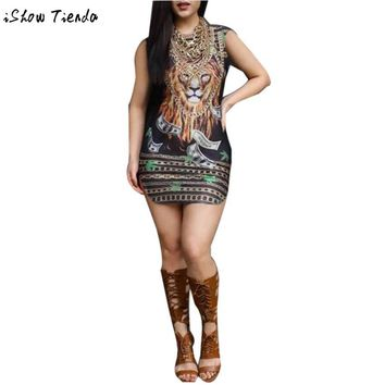 Party Dresses Tiger Chain Printing Womens Sexy Dresses Party Night Club Dress Vestido Curto #2728