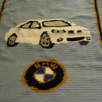 Crochet Afghan,  Automobile, BMW Logo,  Bavarian Motor Works, Blanket, Throw, Stadium Blanket, Immediate Delivery Custom Request Available