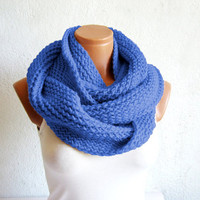 Knitted infinity Scarf Block Infinity Scarf. Loop Scarf, Circle Scarf, Neck Warmer. Soft Blue Crochet Infinity
