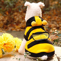 Bees Pet clothes dog clothes casual hooded clothing warm in winter leisure coat coral fleece clothes