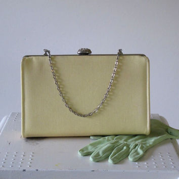 1950s Purse, Pastel Yellow, VINTAGE, Clutch, Snap close, Handbag, WEDDING