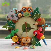 WCIC Wall Clock DIY Welcome Cartoon Owl Music Shape Free Cutting Cloth Hanging Clocks Felt Living Room Handmade Clocks