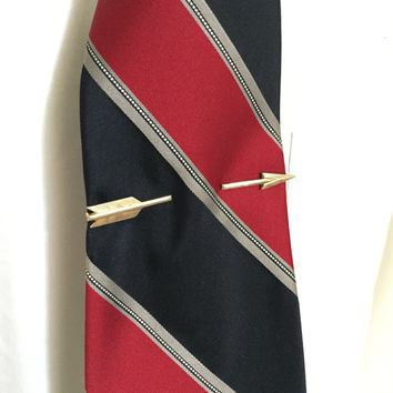 Vintage, 1950's, Tie Clip, Shooting Arrow, Tie Bar, Gold Tone, Fall Formal, Wedding Attire, Groom, Rockabilly,  Suit, Tie,