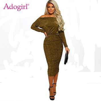 Adogirl Sequins Wire Off Shoulder Ruched Dress Women Sexy Slash Neck Long Sleeve Bodycon Midi Club Party Dress Casual Vestidos