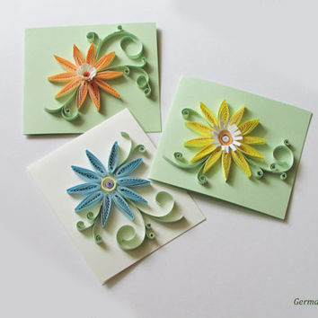 Quilling Pastel Flower Card Set, Set of 3 Greeting Cards with Quilled Flowers in Pastel Colors
