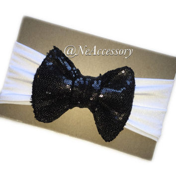 Sparkle Headband, Big Child Bow Headband, Toddler Accessories, black Sparkle Headband, New Born- Adult