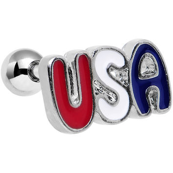 "16 Gauge 1/4"" Red White and Blue Text USA Tragus Cartilage Earring"