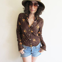 Vintage 60s 70s Funky Polyester Brown Coffee/ Coffee Bean/ Coffee Grinder Oversize Collar Novelty Shirt