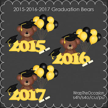 2015-2017 Yellow/Black Graduation Bears Clipart