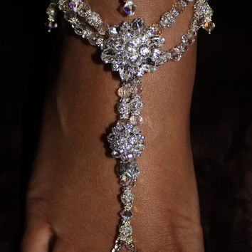 Swarovski Beach Wedding Barefoot Sandals from SubtleExpressions