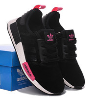 "Fashion ""Adidas"" Women Trending NMD Running Sports Shoes Black pink logo"