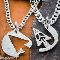 Arrowhead Friends or couples Necklaces, American Indian Jewelry Hand Cut Coin