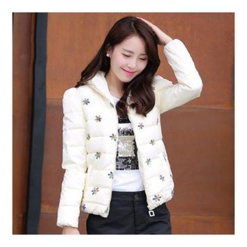 Winter Slim Embroidered Chic Woman Down Coat   white