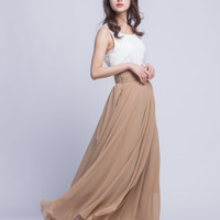 High Waist Prom skirt Chiffon Maxi Skirts Beautiful Pleated Waist Summer Skirt Floor Length Women Skirt (401) ,89#
