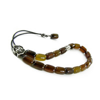 Brown Agate Komboloi Worry Beads, Silver Tone Metal Master Bead on Black Cord, Traditional Greek Worry Beads