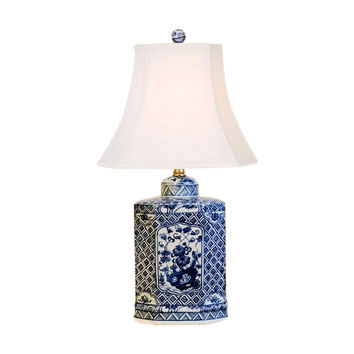 """Beautiful Blue and White Porcelain Hexagonal Tea Caddy Table Lamp Floral 20.5"""""""
