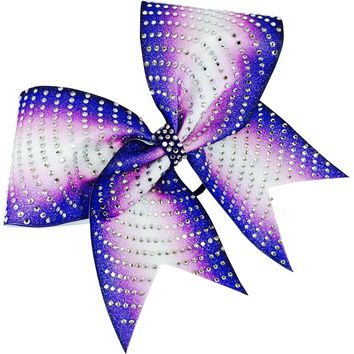 Double ombre glitter bow with rhinestones
