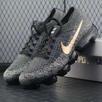 PEAPNW6 Sale Nike Air VaporMax Vapor Max 2018 Flyknit Men Grey Gold Sport Running Shoes 849558-010