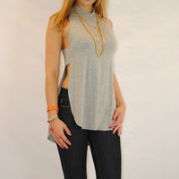 (amz) Sideless high neck open back gray top