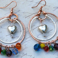 Chakra Love, Heart, Copper, Silver, Crystal Earrings, Direct Checkout, Dangle, Hoop, Chakra, Rainbow