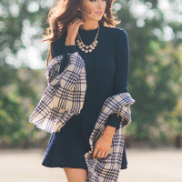 Amy Navy Ribbed Long Sleeve Trapeze Dress