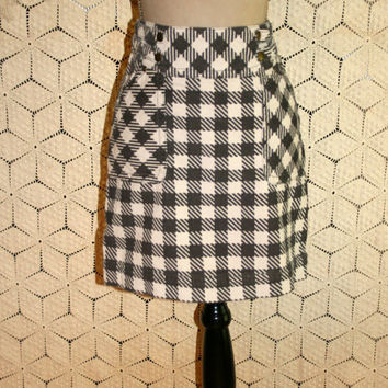 Corduroy Skirt Mini Skirt Gray Plaid Skirt High Waist Skirt Fall Skirt Winter Skirt Anthropologie Size 6 Size 8 Small Medium Womens Clothing