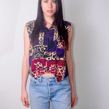 Vintage 1990s reconstructed tribal ethnic print button down cropped tank top sleeveless grunge blouse