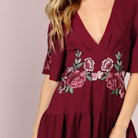 Floral Patch Ruffle Hem Romper RED | MakeMeChic.COM