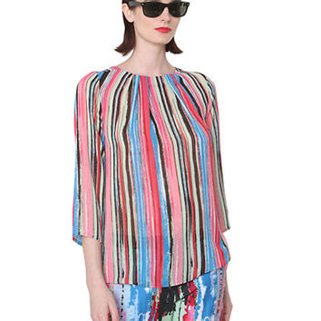 Isaac Mizrahi New York Multi-Colored Striped Blouse
