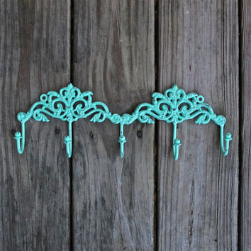 Metal Wall Hook /Aquamarine /Jewelry/ Key Holder/ Bath Towels Laundry /Mud Room Accessory/ Iron Organizer/ Bathroom/ Bedroom/ French Country