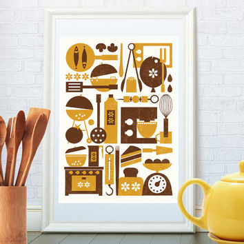 Minimalist kitchen art print, Scandinavian design, Retro poster, Mid century modern, Home decor